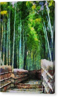 Bamboo Forest Canvas Print by Cathleen Cawood