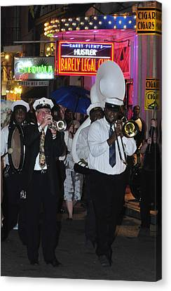 Band Marching On Bourbon Street Canvas Print by Bourbon  Street