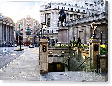 Bank Station Entrance In London Canvas Print by Elena Elisseeva