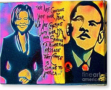 Barack And Michelle Canvas Print by Tony B Conscious