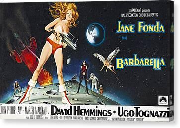 Barbarella, Jane Fonda On Poster Art Canvas Print by Everett