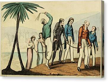 Barbary Pirates Taking Their Chained Canvas Print by Everett