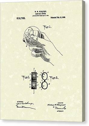 Bare Ball Curver 1909 Patent Art Canvas Print by Prior Art Design