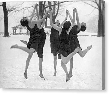 Barefoot Dance In The Snow Canvas Print by Underwood Archives