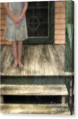Barefoot Girl On Front Porch Canvas Print by Jill Battaglia