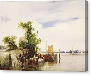 Barges On A River Canvas Print by Richard Parkes Bonington