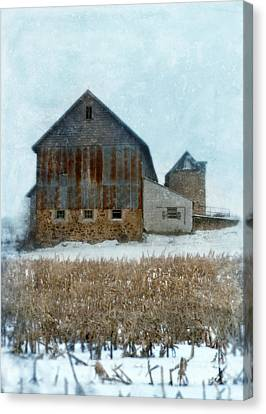 Barn In Winter Canvas Print by Jill Battaglia