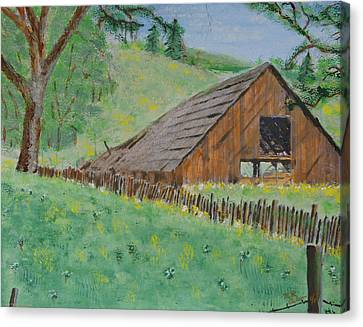Barn On Hiway 20 Canvas Print by Mick Anderson