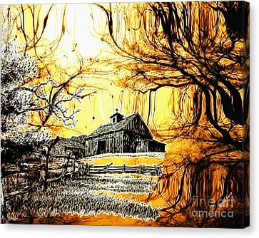 Barn Out Back Canvas Print by Cheryl Young