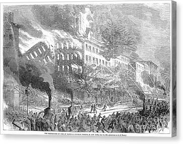 Barnums Museum Fire, 1865 Canvas Print by Granger