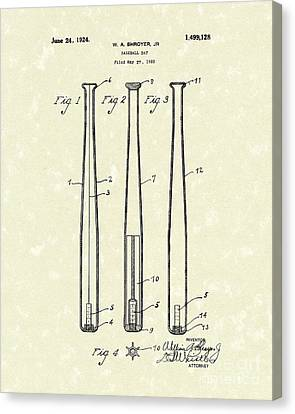 Baseball Bat 1924 Patent Art Canvas Print by Prior Art Design