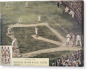 Baseball, New York At Boston, 1889 Canvas Print by Everett
