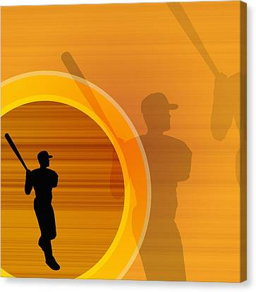 Baseball Player About To Swing, Silhouette (digital) Canvas Print by Chad Baker