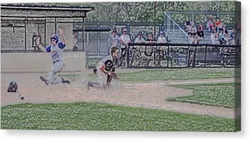 Baseball Runner Safe At Home Digital Art Canvas Print by Thomas Woolworth