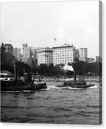 Battery Park And Lower Manhattan New York City - C 1904 Canvas Print by International  Images