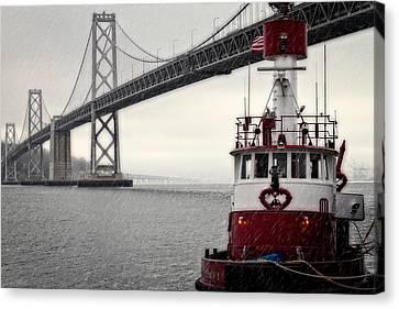 Bay Bridge And Fireboat In The Rain Canvas Print by Jarrod Erbe