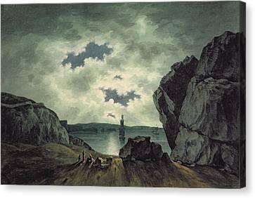 Bay Scene In Moonlight Canvas Print by John Warwick Smith