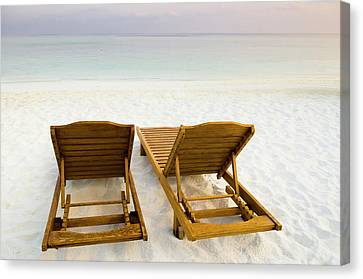 Beach Chairs, Maldives Canvas Print by Ulana Switucha