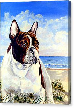 Beach Frenchie - French Bulldog Canvas Print by Lyn Cook