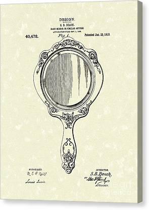 Beach Hand Mirror 1910 Patent Art Canvas Print by Prior Art Design