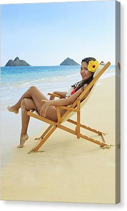 Beach Lounger Canvas Print by Tomas del Amo