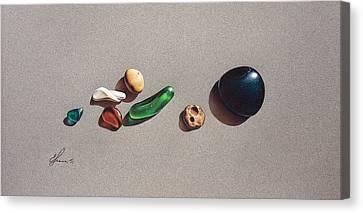 Beach Stones Canvas Print by Elena Kolotusha