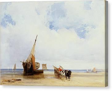 Beached Vessels And A Wagon Near Trouville Canvas Print by Richard Parkes Bonington