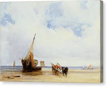 Beached Vessels And A Wagon Near Trouville Canvas Print by Richard Parkes Bonington