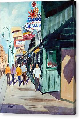 Beale Street Visual Overload Canvas Print by Ron Stephens