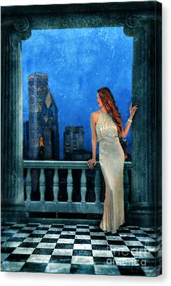 Beautiful Woman In Evening Gown With City Night View Canvas Print by Jill Battaglia