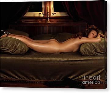 Beautiful Woman Sleeping Naked Canvas Print by Oleksiy Maksymenko