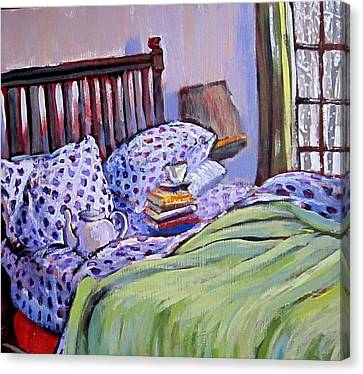 Bed And Books Canvas Print by Tilly Strauss