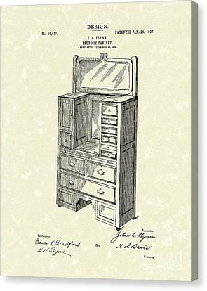 Bedroom Cabinet Design 1907 Patent Art Canvas Print by Prior Art Design