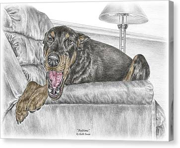 Bedtime - Doberman Pinscher Dog Print Color Tinted Canvas Print by Kelli Swan