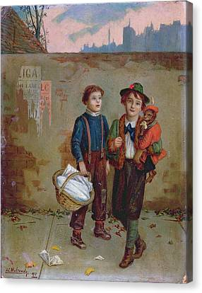 Beggars And A Monkey Canvas Print by Augustus Edward Mulready