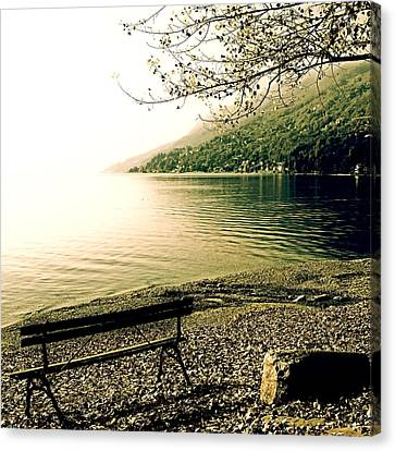 Bench In Autumn Canvas Print by Joana Kruse