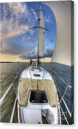 Beneteau Sailboat Sailing Sunset Canvas Print by Dustin K Ryan