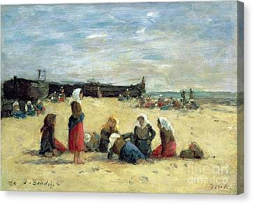 Berck - Fisherwomen On The Beach Canvas Print by Eugene Louis Boudin