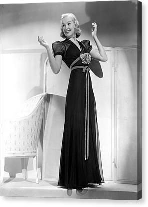 Betty Grable In Black Chiffon Dinner Canvas Print by Everett