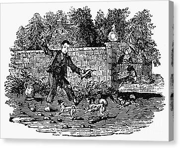 Bewick: Boy With Dogs Canvas Print by Granger