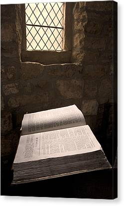 Bible In A Church, Rosedale, North Canvas Print by John Short