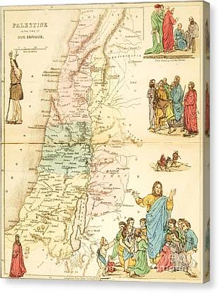 Biblical Map Palestine Canvas Print by Pg Reproductions
