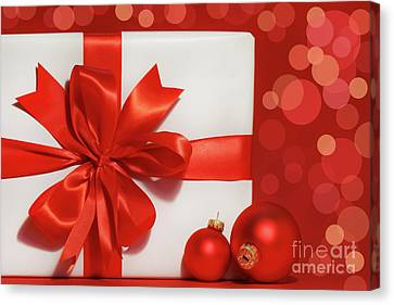 Big Red Bow On Gift  Canvas Print by Sandra Cunningham