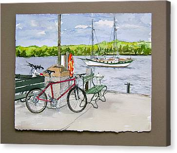 Bikes At Fish Creek Canvas Print by Laurel Fredericks