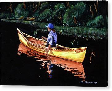 Birch-bark Canoe Canvas Print by Edward Coumou