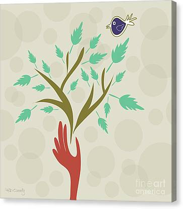 Bird And Branch Canvas Print by HD Connelly