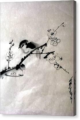 Bird In Plumtree Canvas Print by Sid Solomon