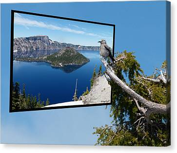 Birds Eye View Of Crater Lake Canvas Print by Cindy Wright