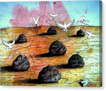 Birds Solicitous Of Light Canvas Print by Paulo Zerbato