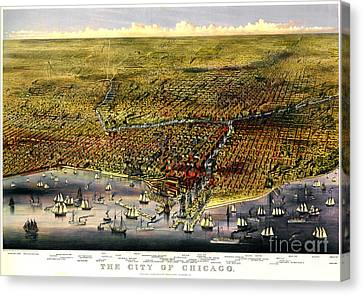Birdseye Map Of Chicago By Parsons And Atwater 1874 Canvas Print by Pg Reproductions